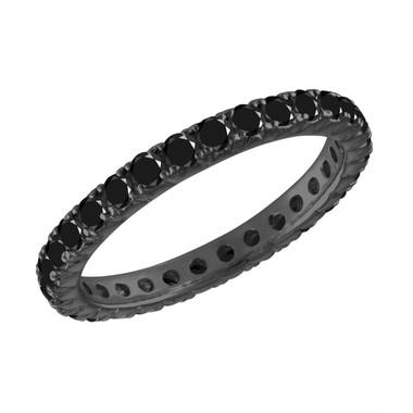 Black Diamond Eternity Wedding Band, Eternity Wedding Ring, 14K Black Gold 1.00 Carat Certified Handmade