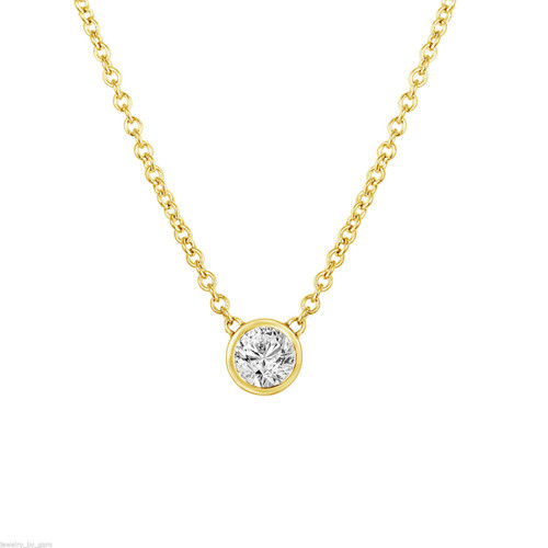 Solitaire Diamond Pendant Necklace, Diamond By The Yard Necklace, GIA Certified 0.53 Carat 14k Yellow Gold Handmade Low Bezel Set
