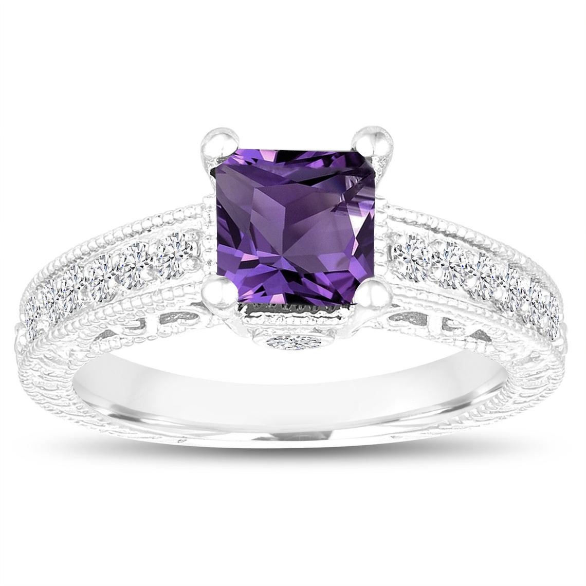 1583747425f19 1.35 Carat Princess Cut Amethyst Engagement Ring, Wedding Ring, 14k White  Gold Unique Vintage Antique Style Handmade Certified
