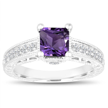 1.35 Carat Princess Cut Amethyst Engagement Ring, Wedding Ring, 14k White Gold Unique Vintage Antique Style Handmade Certified