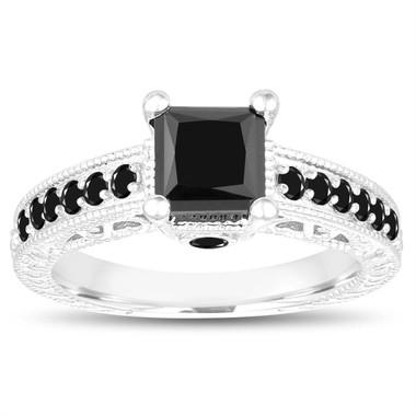 1.60 Carat Black Diamond Engagement Ring, Princess Cut Engagement Ring, 14k White Gold Unique Vintage Antique Style Certified Pave Handmade
