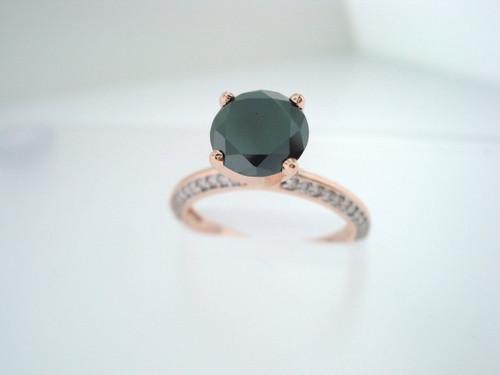 14K Rose Gold Black Diamonds Engagement Ring  1.76 Carat Certified Micro Pave Handmade