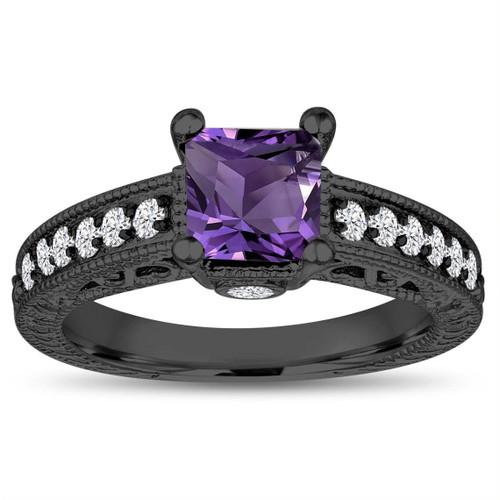 Princess Cut Amethyst Engagement Ring, 1.35 Carat 14k Black Gold Unique Vintage Antique Style Handmade Certified
