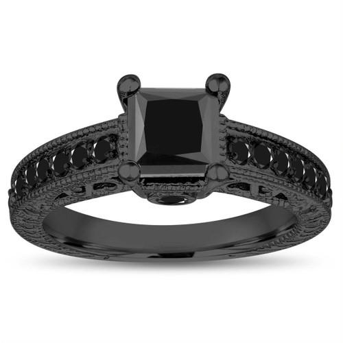 Princess Cut Black Diamond Engagement Ring, 1.60 Carat 14k Black Gold Unique Vintage Antique Style Certified Pave Handmade