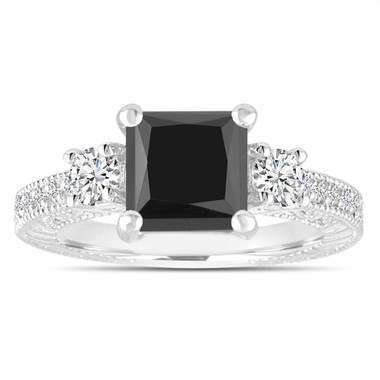 Platinum 2.28 Carat Black Diamond Engagement Ring, Scroll Detailing Bridal Ring, Filigree Ring, Princess Cut Vintage Style Engraved Handmade
