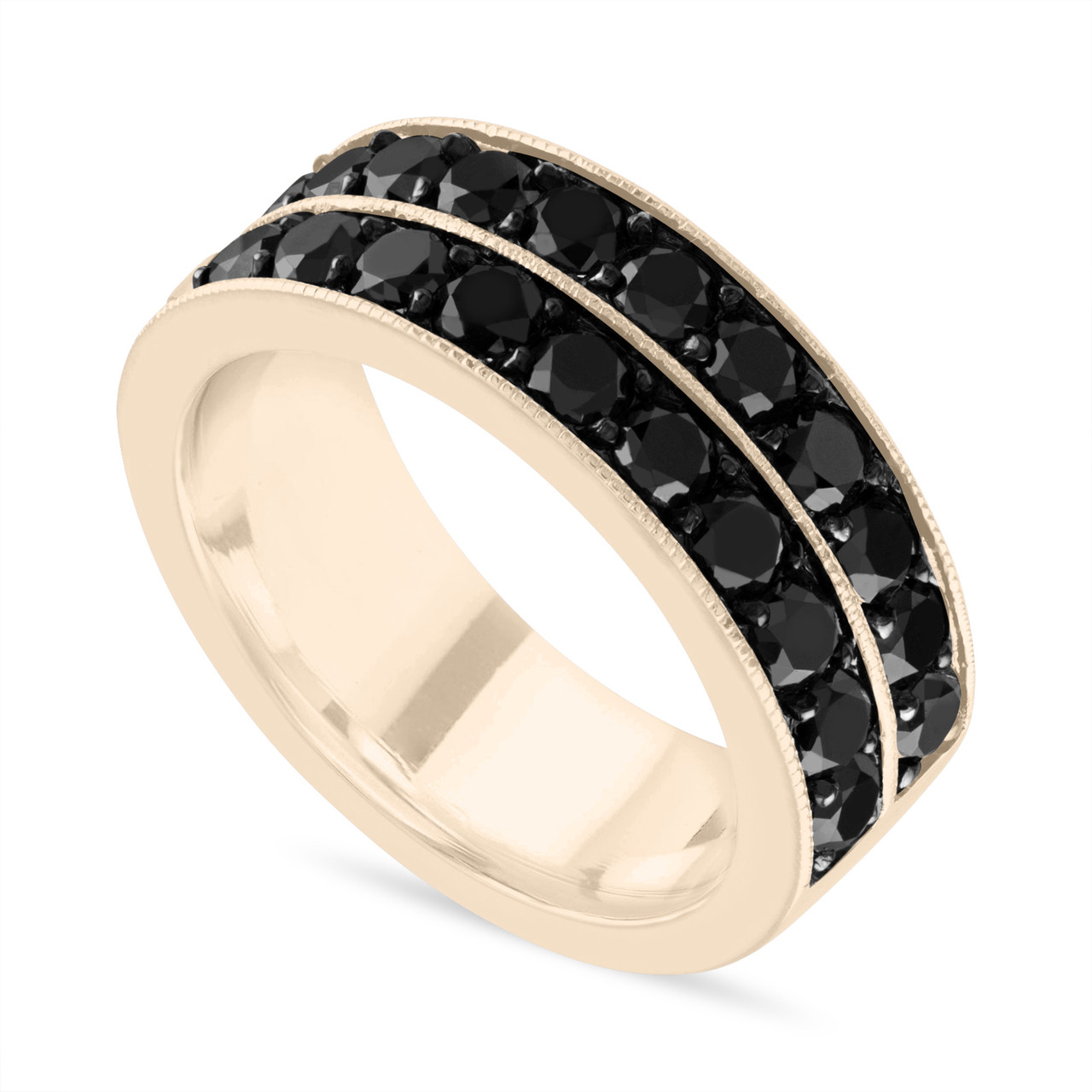 Black Diamond Mens Wedding Band Mens Wedding Ring 14k Yellow Gold 8 Mm Two Row Pave Handmade Certified Unique