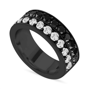 Black & White Diamond Mens Wedding Band, Vintage Diamond Wedding Ring, 2.80 Carat 8 mm Two Row Pave 14K Black Gold Handmade Certified Unique