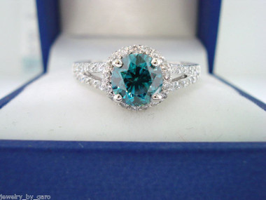 Fancy Blue Diamond Engagement Ring, Bridal Ring, 1.34 Carat SI1 14K White Gold Handmade Halo