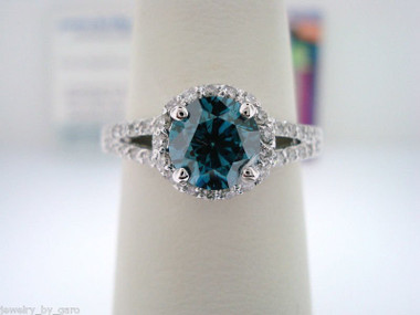 VS2 Blue Diamond Engagement Ring, Fancy Diamond Wedding Ring 14K White Gold 1.35 Carat Halo Pave Certified Handmade