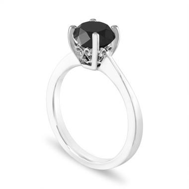 Black Diamond Engagement Ring Platinum 1.75 Carat Certified Handmade Unique Galley Designs