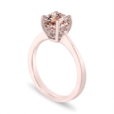 Morganite Solitaire Engagement Ring 14K White Gold or Rose Gold, 1.02 Carat Unique Handmade Gallery Designs Certified