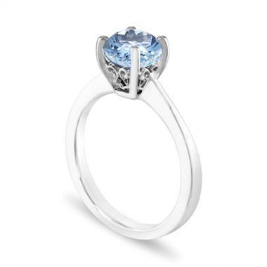 1.02 Carat Aquamarine Engagement Ring 14K White Gold or Rose Gold, Solitaire Ring, Unique Handmade Gallery Designs Certified