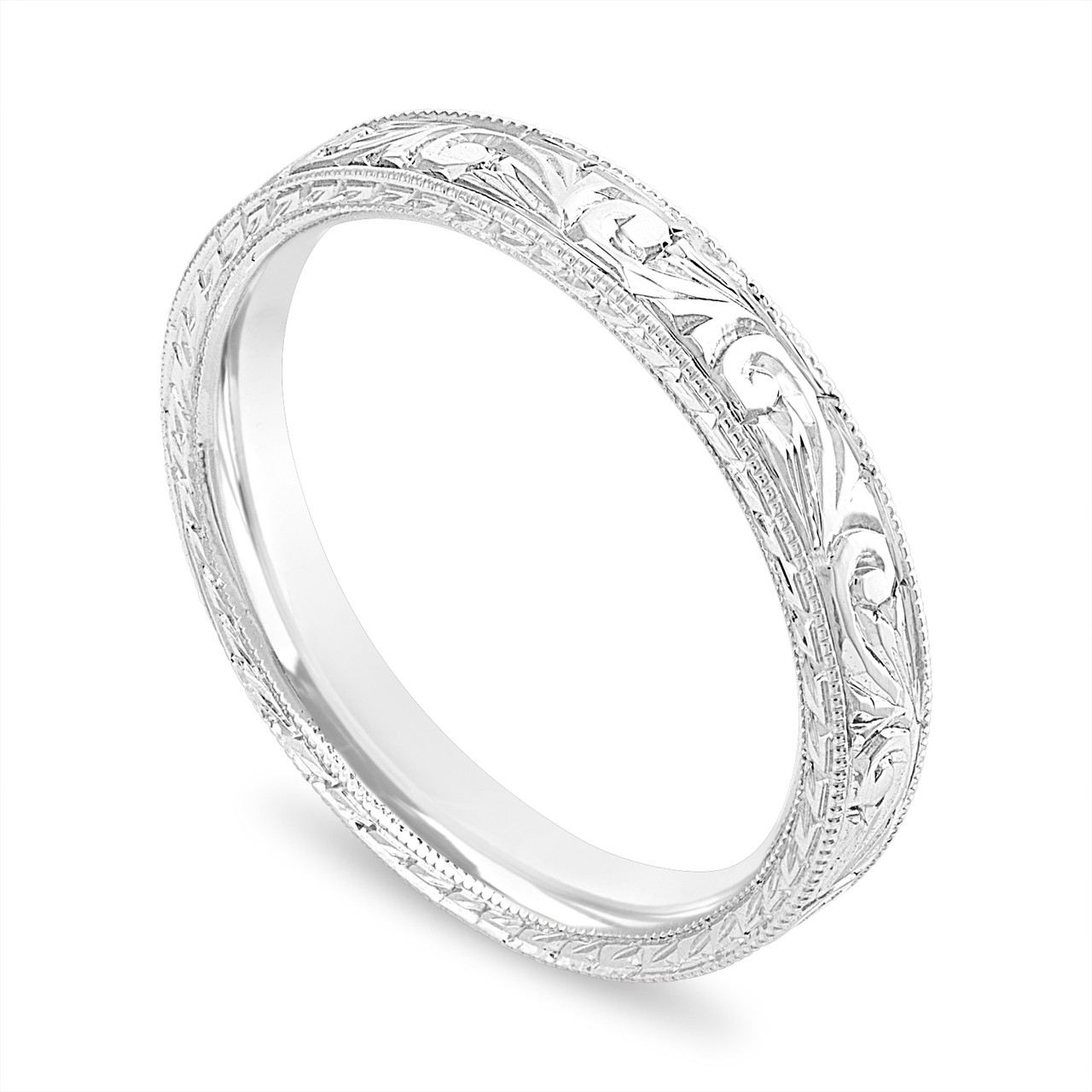 Filigree Wedding Band.Filigree Wedding Band Hand Engraved Wedding Ring 3 Mm Flat 14k White Gold Rose Or Yellow Gold Vintage Anniversary Band Unique Handmade