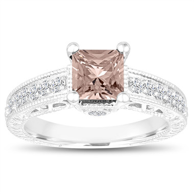 Princess Cut Morganite Engagement Ring, Morganite and Diamonds Wedding Ring, 1.32 Carat 14k White Gold Unique Vintage Antique Style Handmade