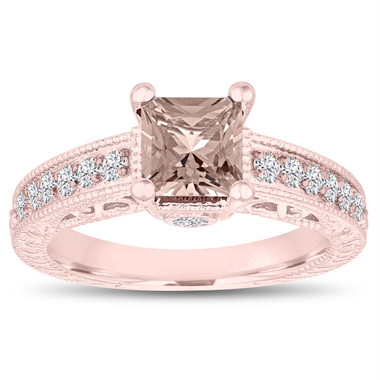 Unique Morganite Engagement Ring Rose Gold, Princess Cut Filigree Wedding Ring, 1.32 Carat Vintage Antique Style Handmade