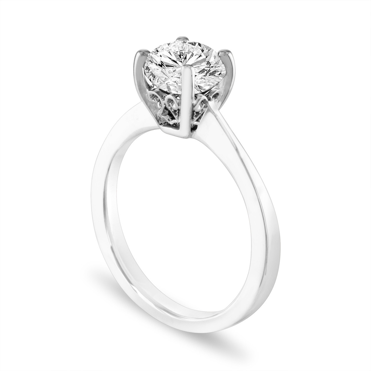 83a401e147da4 1.01 Carat Diamond Solitaire Engagement Ring, Scroll Filigree Bridal Ring  GIA Certified 14K White Gold or Rose Gold Handmade Gallery Designs