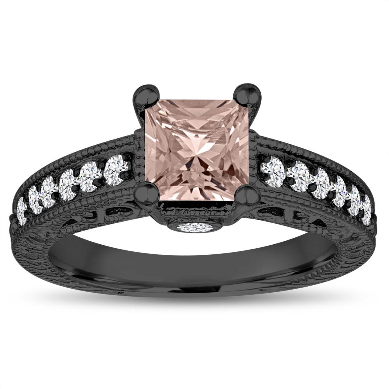 8f62325ce2e2c Vintage Morganite Engagement Ring, Princess Cut Wedding Ring, 1.32 Carat  14k Black Gold Unique Vintage Antique Style Handmade