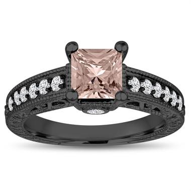 Vintage Morganite Engagement Ring, Princess Cut Wedding Ring, 1.32 Carat 14k Black Gold Unique Vintage Antique Style Handmade