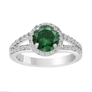 1.69 Carat Green Diamond Engagement Ring, Halo Engagement Ring, 14K White Gold Pave Unique Handmade Certified
