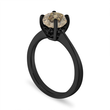 1.01 Carat Champagne Diamond Engagement Ring, Unique Solitaire 14K Black Gold Certified Handmade Galley Designs
