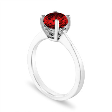 1.01 Carat Red Diamond Engagement Ring, Unique Solitaire Bridal Ring, 14K White Gold Certified Handmade Galley Designs