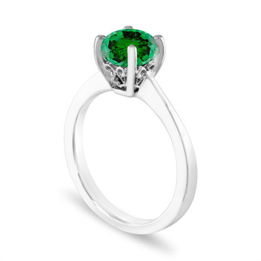 1.01 Carat Green Diamond Engagement Ring, Unique Solitaire Bridal Ring, 14K White Gold Certified Handmade Galley Designs