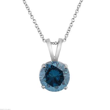 Blue Diamond Solitaire Pendant, Platinum VS2 Diamond Necklace, Anniversary Gift, Certified 1.01 Carat Handmade