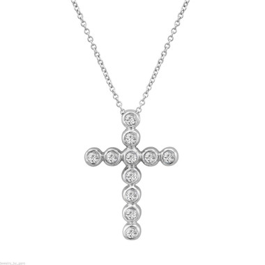 Diamond Cross Pendant, Gold Cross Necklace, 0.44 Carat 14K White Gold Certified Handmade