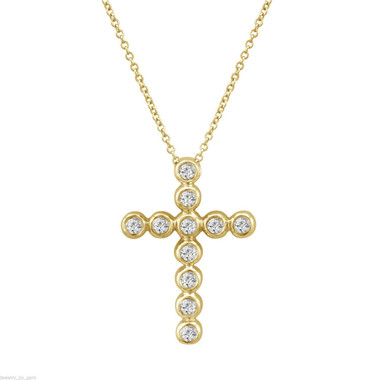 Diamond Cross Pendant, Gold Cross Necklace, 0.44 Carat 14K Yellow Gold Certified Handmade