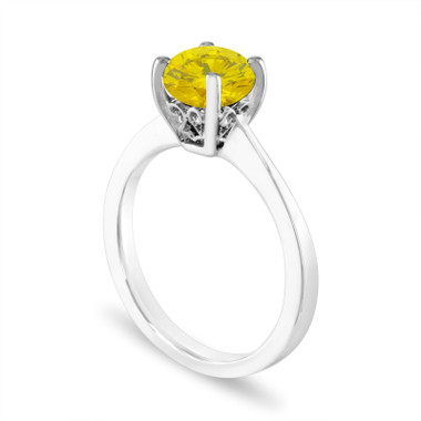 1.01 Carat Yellow Diamond Engagement Ring, Unique Solitaire Ring, 14K White Gold Certified Handmade Galley Designs