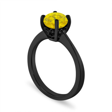 1.01 Carat Yellow Diamond Engagement Ring, Unique Solitaire Ring, 14K Black Gold Certified Handmade Galley Designs