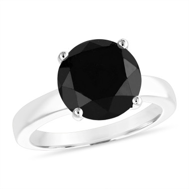 4.00 Carat Black Diamond Solitaire Engagement Ring 14k White Gold or Rose Gold Certified Unique Huge Handmade