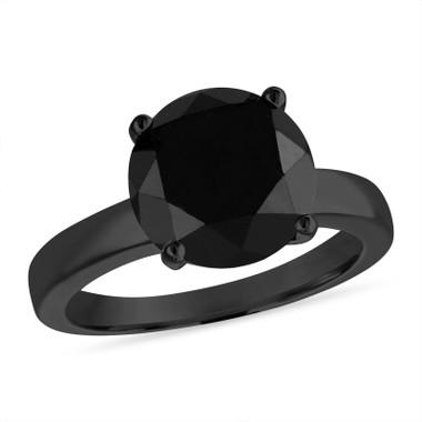 4.00 Carat Black Diamond Solitaire Engagement Ring 14k Black Gold Certified Unique Huge Handmade