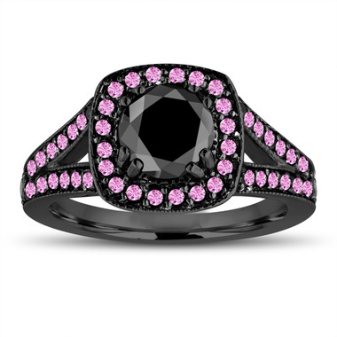 Black Diamond and Pink Sapphire Engagement Ring, Vintage Bridal Ring, 14K Black Gold Halo Pave Certified 1.60 Carat Unique Handmade
