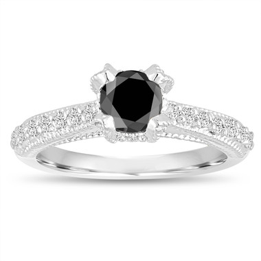 Black Sapphire Engagement Ring 14K White Gold 0.81 Carat Unique Vintage Style Handmade Pave