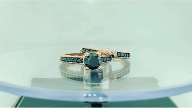 Black Diamond Engagement Ring Set, Scroll Wedding Sets, 14K Rose Gold 1.47 Carat Vintage Style Engraved Pave Handmade Certified Unique