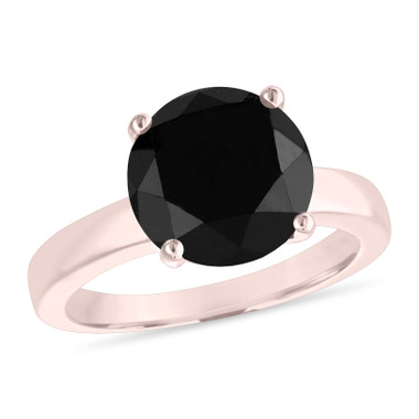 3.20 Carat Black Diamond Solitaire Engagement Ring 14k Rose Gold or White Gold Certified Unique Huge Handmade