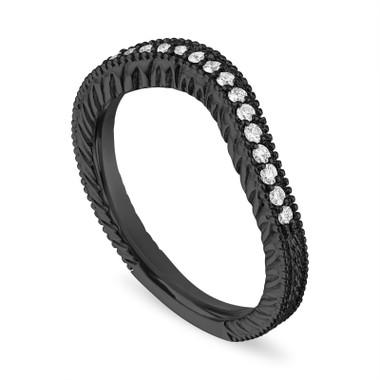 Filigree Diamond Wedding Band, Matching Curve Wedding Ring, Vintage Style Unique 14K Black Gold, 0.18 Carat Handmade