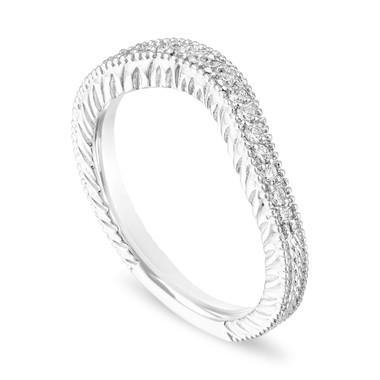 Platinum Filigree Diamond Wedding Band, Matching Curve Wedding Ring, Vintage Style Unique, 0.18 Carat Handmade