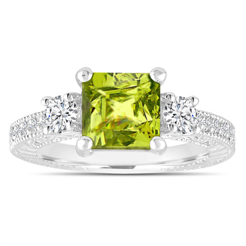 Unique Peridot Engagement Ring, Princess Cut Vintage Diamond Scroll Engagement Ring 2.18 Carat 14K White Gold or Rose Gold Handmade Certified