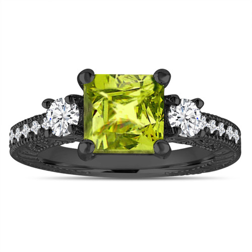 Unique Peridot Engagement Ring, Princess Cut Vintage Diamond Scroll Engagement Ring 2.18 Carat 14K Black Gold,  Handmade Certified