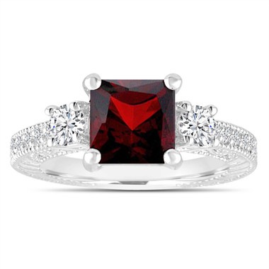 Unique Garnet Engagement Ring, Princess Cut Vintage Diamond Scroll Engagement Ring 2.23 Carat 14K White Gold or Rose Gold Handmade Certified