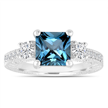 London Blue Topaz & Diamonds Engagement Ring, Princess Cut Vintage Scroll Unique 2.13 Carat 14K White Gold or Rose Gold Gold Handmade