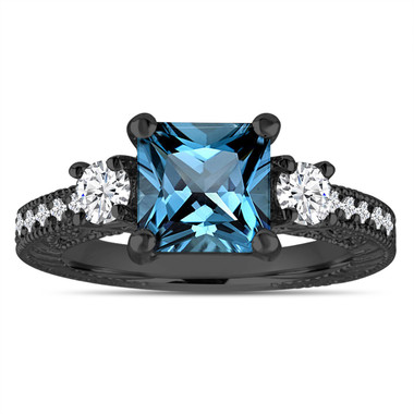 London Blue Topaz & Diamonds Engagement Ring, Princess Cut Vintage Scroll Unique 2.13 Carat 14K Black Gold Handmade