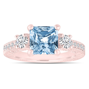 Blue Topaz & Diamonds Engagement Ring, Princess Cut Vintage Scroll Engagement Ring 2.28 Carat 14K Rose Gold or White Gold Handmade