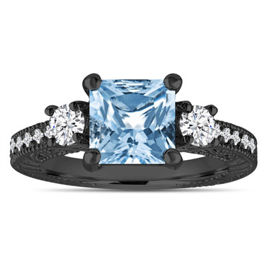 Blue Topaz & Diamonds Engagement Ring, Princess Cut Vintage Scroll Engagement Ring 2.28 Carat 14K Black Gold Handmade