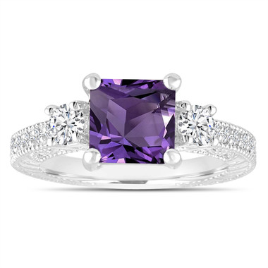 Amethyst & Diamonds Engagement Ring, Princess Cut Vintage Scroll Unique 2.13 Carat 14K White Gold, Rose Gold Handmade