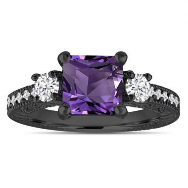Amethyst & Diamonds Engagement Ring, Princess Cut Vintage Scroll Unique 2.13 Carat 14K Black Gold Handmade