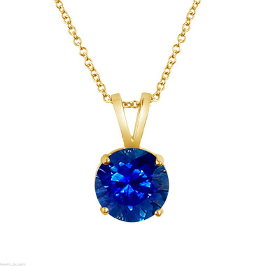Sapphire Solitaire Pendant Necklace, 14k White Gold or Yellow Gold 1.02 Carat Certified Handmade Birthstone