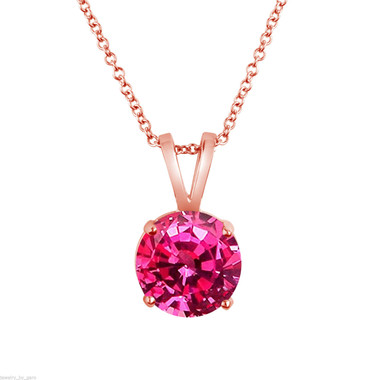 Pink Sapphire Solitaire Pendant Necklace, 14k White Gold or Rose Gold 1.02 Carat Certified Handmade Birthstone